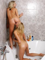 angelic blondes soap up firm bodies rinse and lick twats