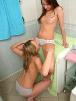 ania and agathe - innocent teens tongue and finger