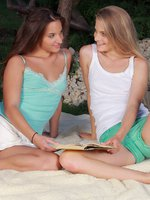 cayenne and amirah - outdoor fun - blonde and brunette lesbians play