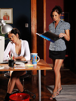 eva and anastasia - office fuck - brunette babes fuck in the office