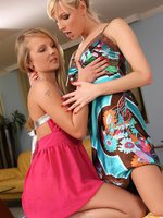 goldie and lenna - luscious lesbians strip and finger