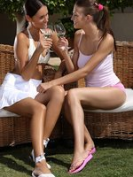 gorgeous ladies nude kiss and make sweet love in garden