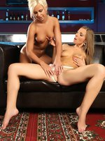 lila and morgan - hot lesbians lick and finger in bar