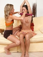 lovely lesbians tenderly kiss and lick sweet twats on couch