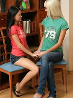 milana and elise - slender teens get naked and dildo