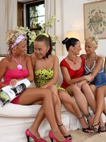 mischelle, mya, hailee and lila - four dazzling vixens strip and lick
