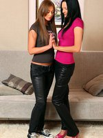 noira and lindsey - enticing teens undress and dildo