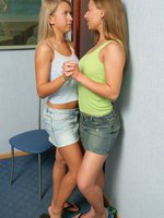 rafaella and karlin - lovely teens strip and dildo twats
