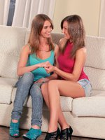 renata and misha - lesbian teens - two teens love to fuck on the sofa