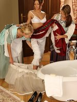 three chambermaids undress and lick wet twats in wild orgy