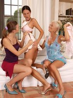 three stunning sirens nude lick and fist wet twats on sofa