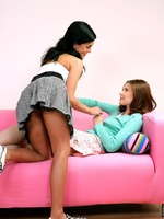 two short skirt teens pussy fingering and kissing each other